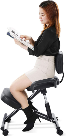 Maxkare Ergonomic Kneeling Chair Home Office Chairs with Height Adjustable for Posture Corrective Seat | Bad Backs | Neck Pain Relieving | Spine Tension Relief-2.4 Inches Thicken Kneeling Cushion
