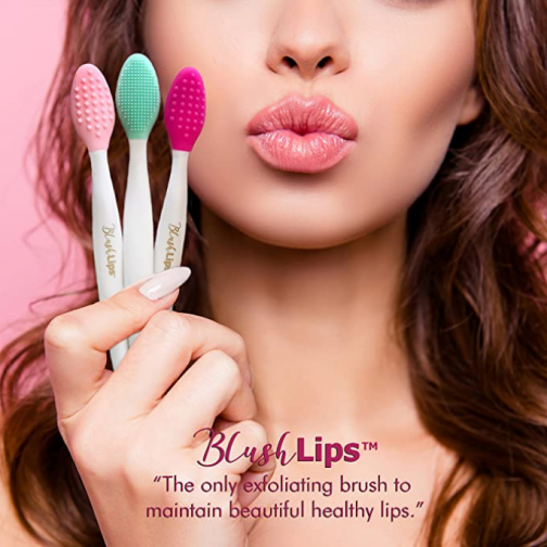 BlushLips A Double-Sided Silicone Exfoliating Soft Lip Brush Applicator Wand Tool for Plump Smoother Fuller Lip Appearance (Fuchsia)