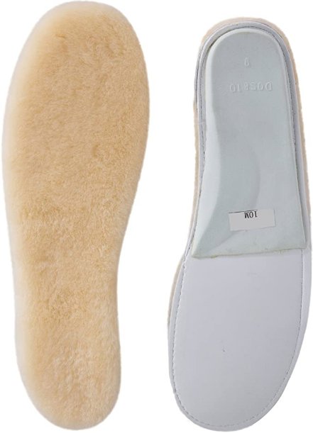 ABUSA Sheepskin Insoles Women's Premium Think Wool Fur Fleece Inserts Cozy & Fluffy 7