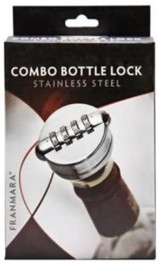 Stainless Steel and Black Combo Liquor/Wine Bottle Lock/Sealer