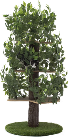 On2 Pets Cat Tree with Leaves Made in USA, Large Round Cat Condo & Cat Activity Tree in EverGreen