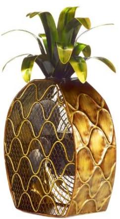 DecoBREEZE Decorative Table Fan, Desk Fan, Two Speed Electric Tabletop Fan, Figurine Fan, 7 inch, Pineapple, Copper