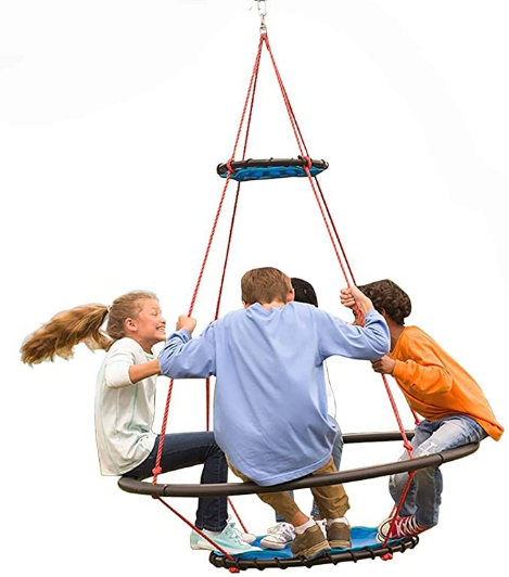"HearthSong Large Vortex Spinning Ring Swing with Footrest for Multiple Kids, 50"" diam x 68"" H., Holds Up to 300 lbs."