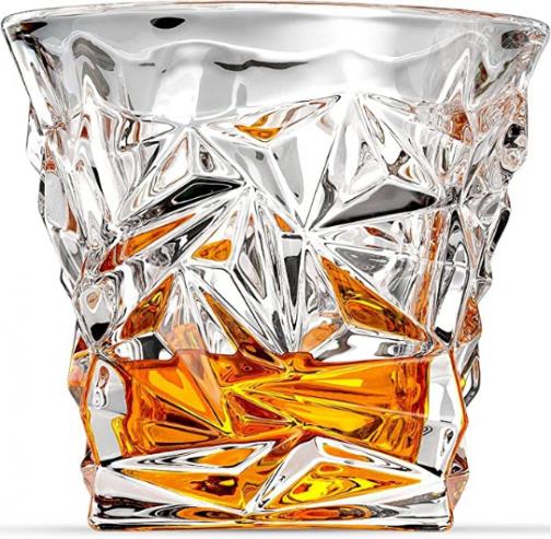 Ashcroft Fine Glassware Diamond Whiskey Glasses, Old fashioned Glasses, Set of 2 for Liquor, Bourbon, Scotch, 10 ounce Whiskey Tumbler, Diamond Cut Lowball Glasses