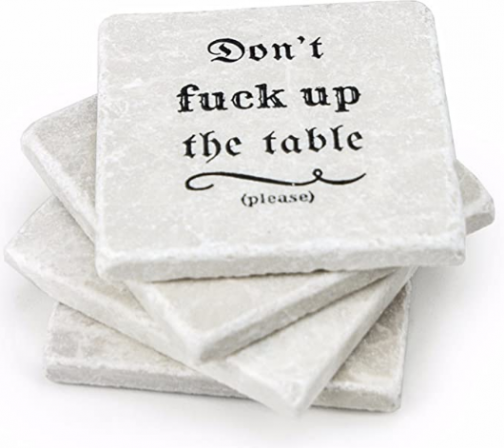 Marble Coasters for Drinks - Funny Housewarming Gifts Wedding Gift Or for Your Kitchen, Living Room & Coffee Table | Marble Home Decor Coaster Set