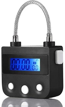 99 Hours Max Timing Lock - USB Rechargeable Time Out Padlock with LCD Display of Hiplaygirl (Black)