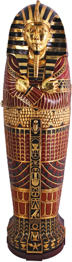 Design Toscano King Tutankhamen's Egyptian Mummy Sarcophagus Coffin Storage Cabinet, 6 Feet, Gold Leaf