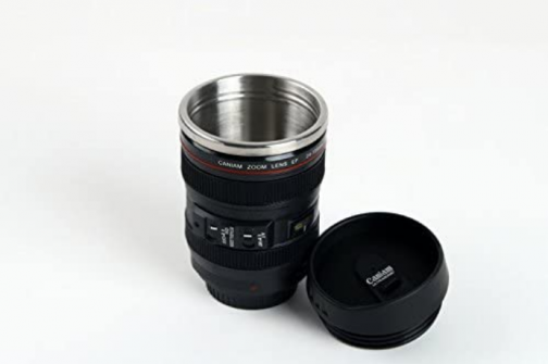 Self Stirring Camera Lens Travel and Stainless Steel Novelty Coffee Cup Mug with Lid, Replica of CN EF 24-105 mm Lens, 11 oz