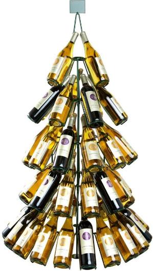 """53"""" Tall Wine Bottle Christmas Tree Rack - Holds 60 Bottles"""