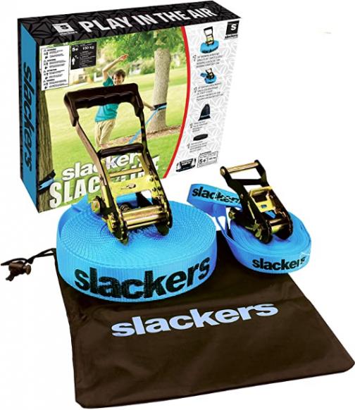 Slackers 50-Feet Slackline Classic Set with Bonus Teaching Line, Assorted Color…