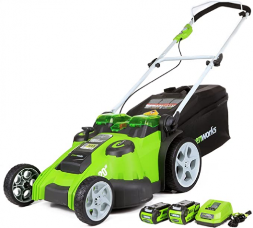 Greenworks 40V 20 inch Cordless Twin Force Lawn Mower, 4Ah & 2Ah Batteries with Charger Included, 25302