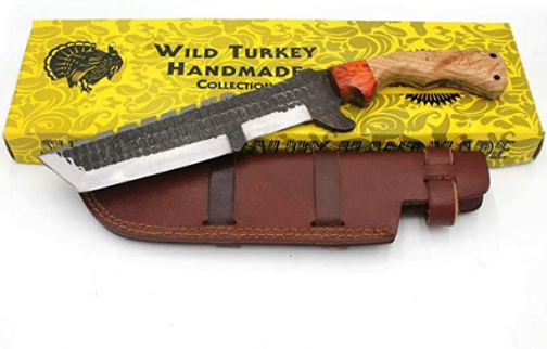 "Wild Turkey Handmade Collection 14.5"" Full Tang Fully Functional Fixed Blade Tracker Knife w/ Leather Sheath"