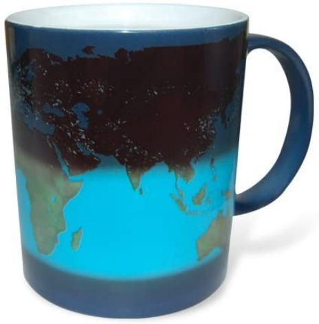 Thumbs Up UK Day and Night Heat Sensitive Color Changing 10 oz Ceramic Coffee Mug, Day & Night