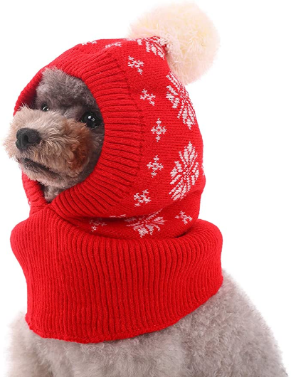 Kuoser Dog Winter Hat, Dog Knitted Hat Pet Christmas Winter Warm Caps Cute Accessories Neck Ear Warmer Hood Warm Scarf Party Decoration for Pet Cat and Dog fit for Small Medium Large Dogs