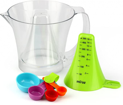 Urban Trend Reverso Plus Measuring Cup and Spoon Set (2-Cup) - Patented Easy-To-Read Design - Built-in Detachable Measuring Spoons