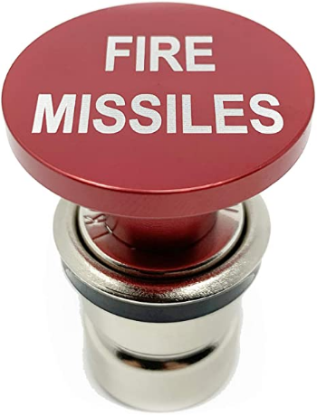 Fire Missiles Button Car Cigarette Lighter by Citadel Black - Anodized Aluminum, 12-Volt Replacement Accessory w/Safety Feature, Fits Most Vehicles, Socket Size A