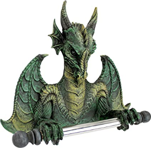 Design Toscano CL45492 Holder-Commode Dragon Tissue Tyrant Gothic Toilet Paper Roll-Bathroom Wall Decor, Full Color