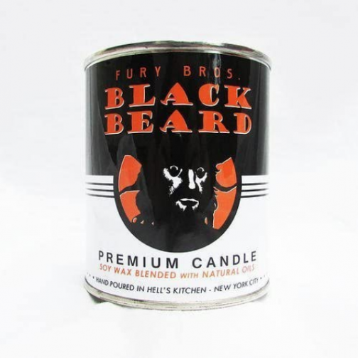 Fury Bros. Black Beard Man Candle with Scents of Gun Smoke and Holster Leather (1 Pint Slow Burn Soy Candle)