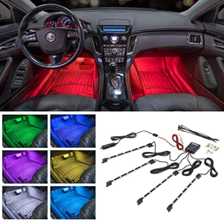 LEDGlow 4pc Multi-Color LED Interior Footwell Underdash Neon Light Kit for Cars & Trucks - 7 Solid Colors - 7 Patterns - Music Mode - Auto Illumination - Universal - Includes Cigarette Power Adapter
