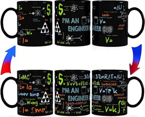 Kware - Engineer/Math Mug - Heat Sensitive Color Changing Coffee Mug 12oz for Birthday, Graduation or Special day gift idea (Regular Box)