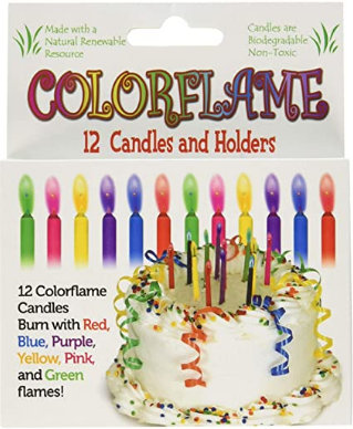Colorflame Birthday Candles With Colored Flames - Birthday, Party, Cake Decor - 12 Candles Per Box