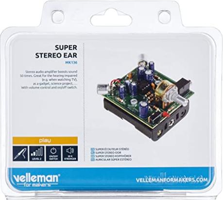 Velleman, Inc – Super Stereo Ear MiniKit MK136 – Entry Level Audio Amplifier Soldering Project