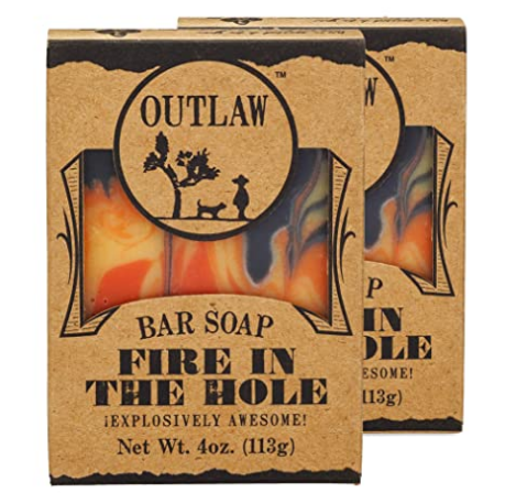Outlaw Fire in the Hole Handmade Campfire Soap - Explosively Awesome - Campfire, Gunpowder, Sagebrush, Whiskey, and Weekend Camping - Men's or Women's Bar Soap - 2 Pack