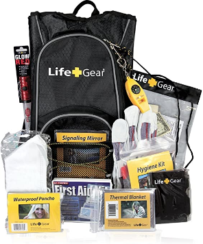 Life Gear LG492 Emergency Survival Kit Backpack w/Emergency Gear & First Aid Kit, black & gray, one size