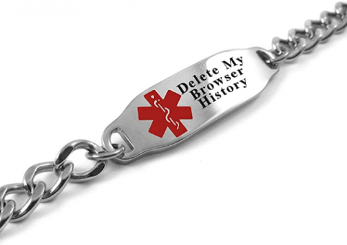 My Identity Doctor - Please Delete My Browser History Medical Alert Bracelet, LOL Gift, Geeky Gadget
