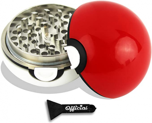 Pokeball Herb Grinder (Large) 2.7 Inches - With BONUS Scraper Tool - Anime Gifts - Cool Grinders For Herb & Spice With Catcher - 3 Part Grinder