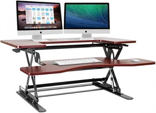 Halter Height Adjustable Pre-Assembled Standing Desk Converter, Elevating Desktop Riser, Standing Desk for Sit or Stand Computer Workstations, 36 Inches; Cherry