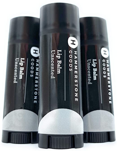 Natural, Organic Lip Balm for Men by Hammerstone Goods. with Vitamin E, Beeswax, and Coconut Oil. Repairs Dry and Cracked Lips and Moisturizes. (Pack of 3, Unscented)