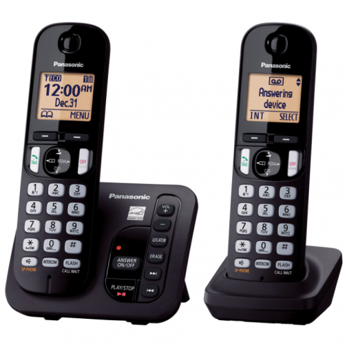 Panasonic 2-Handset DECT 6.0 Cordless Phone With Answering Machine (KXTGC222B) - Only at Best Buy