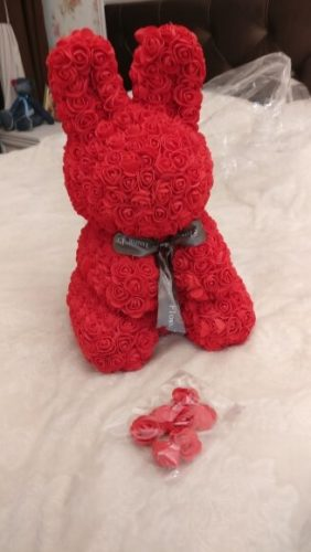 Handmade Rose Bunny - for Anniversary, Christmas, Valentine's Day, Birthday and More photo review